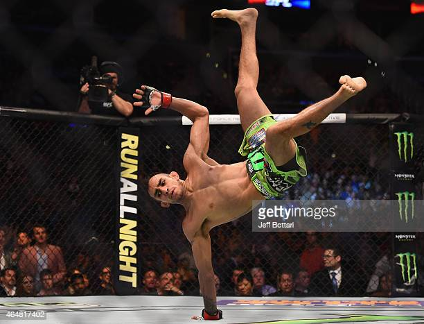 Tony Ferguson celebrates after defeating Gleison Tibau in their lightweight bout during the UFC 184 event at Staples Center on February 28 2015 in...