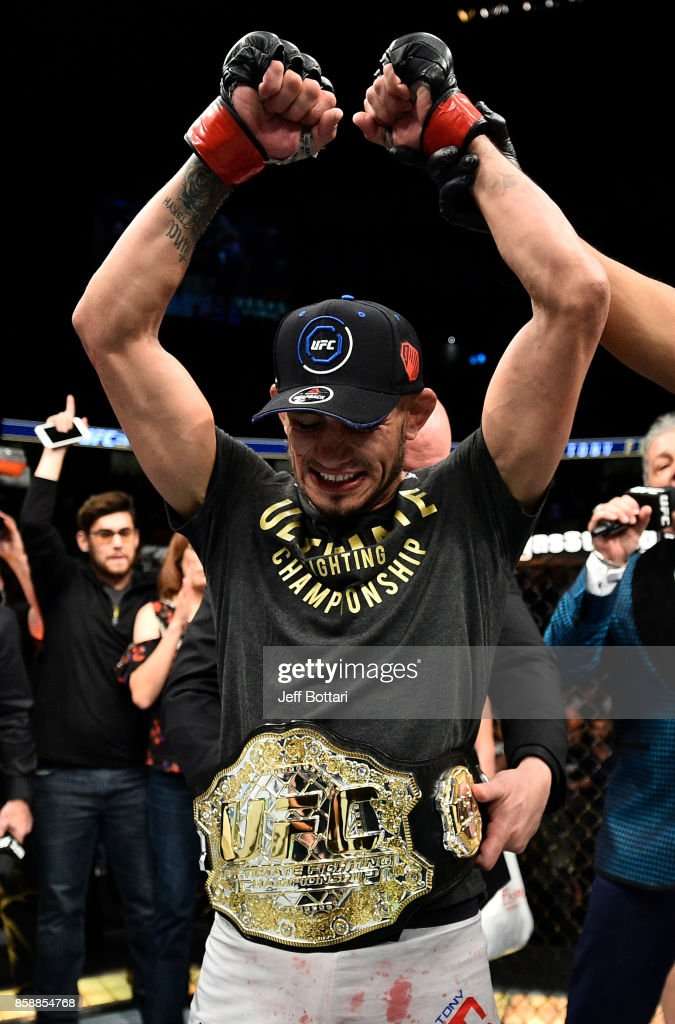 Tony Ferguson celebrates after his submission victory over Kevin Lee in their interim UFC lightweight championship bout during the UFC 216 event inside T-Mobile Arena on October 7, 2017 in Las Vegas, Nevada.