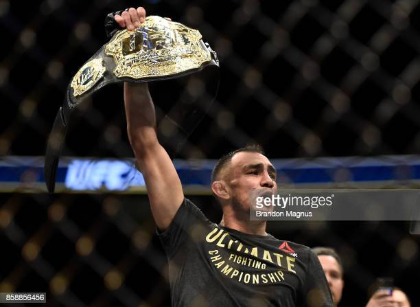 Tony Ferguson celebrates after his victory over Kevin Lee in their interim UFC lightweight championship bout during the UFC 216 event inside TMobile...