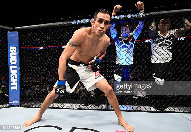 Tony Ferguson of the United States enters the Octagon before facing Rafael Dos Anjos of Brazil in their lightweight bout during the UFC Fight Night...