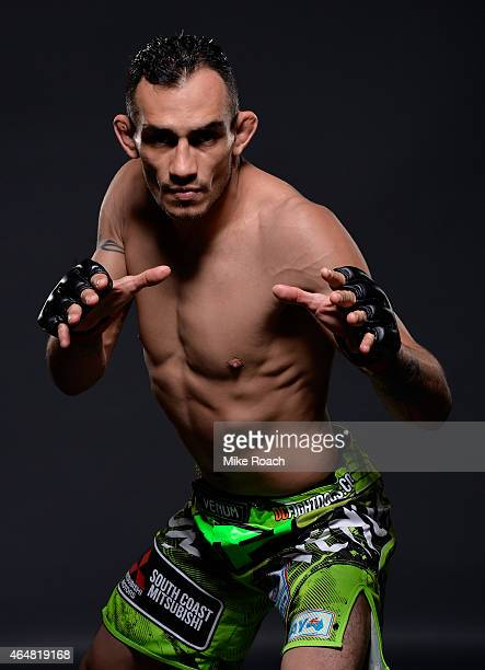 Tony Ferguson poses for portraits after defeating Gleison Tibau in their liightweight bout during the UFC 184 event at Staples Center on February 28...