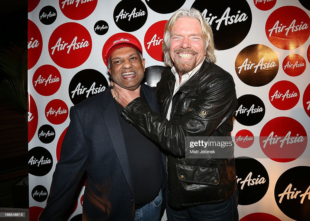 Tony Fernandes and Sir <a gi-track='captionPersonalityLinkClicked' href=/galleries/search?phrase=Richard+Branson&family=editorial&specificpeople=220198 ng-click='$event.stopPropagation()'>Richard Branson</a> attend the AirAsia Cocktail Party at the QV1 Building on May 11, 2013 in Perth, Australia. Branson will be shaving his legs, wearing make-up and be dressed in stewardess clothing tomorrow after losing a bet with AirAsia CEO, Tony Fernandes over which of their 2010 Formula One teams would be beat the other at the Grand Prix in Abu Dhabi.