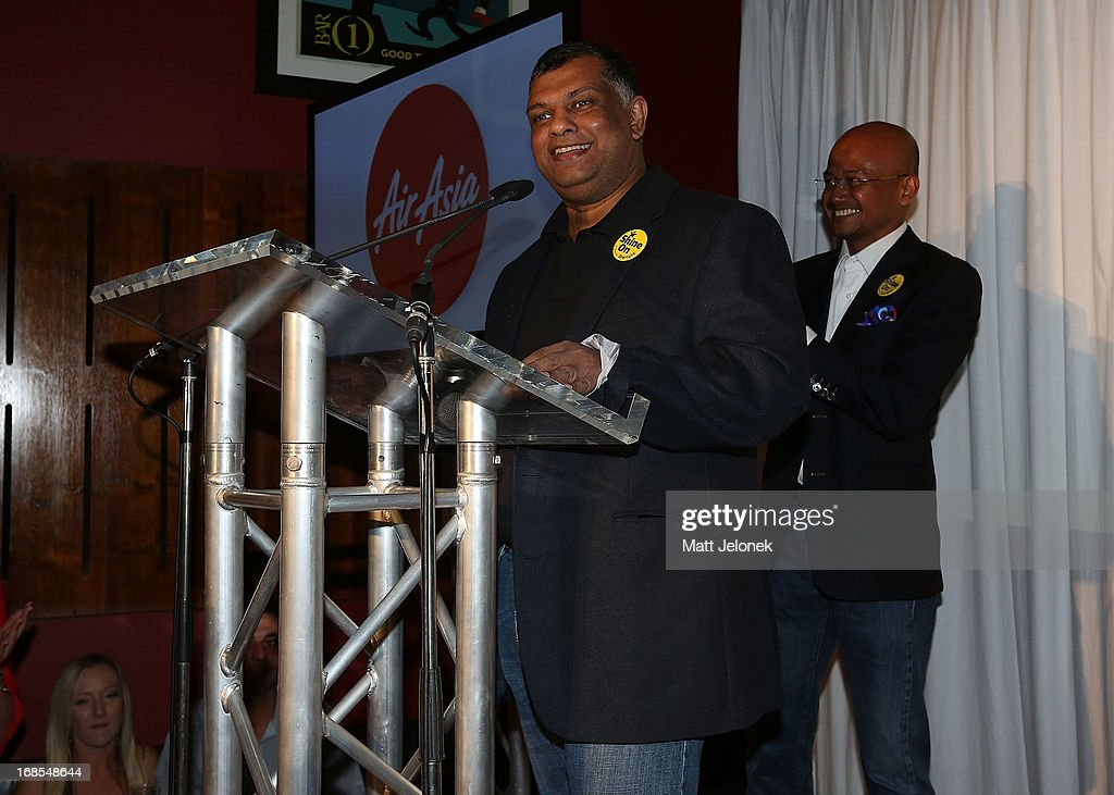 Tony Fernandes, CEO of AirAsia at the AirAsia Cocktail Party at the QV1 Building on May 11, 2013 in Perth, Australia. Branson will be shaving his legs, wearing make-up and be dressed in stewardess clothing tomorrow after losing a bet with AirAsia CEO, Tony Fernandes over which of their 2010 Formula One teams would be beat the other at the Grand Prix in Abu Dhabi.