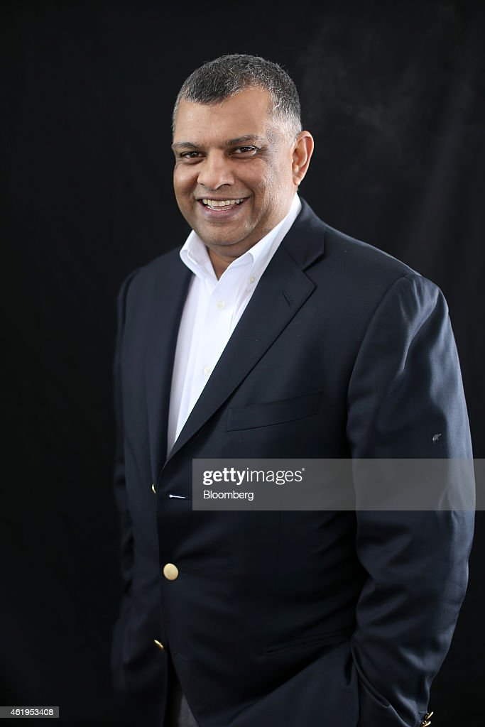<a gi-track='captionPersonalityLinkClicked' href=/galleries/search?phrase=Tony+Fernandes&family=editorial&specificpeople=2103805 ng-click='$event.stopPropagation()'>Tony Fernandes</a>, chief executive officer of AirAsia Bhd., poses for a photograph following a Bloomberg Television interview on day two of the World Economic Forum (WEF) in Davos, Switzerland, on Thursday, Jan. 22, 2015. World leaders, influential executives, bankers and policy makers attend the 45th annual meeting of the World Economic Forum in Davos from Jan. 21-24. Photographer: Simon Dawson/Bloomberg via Getty Images