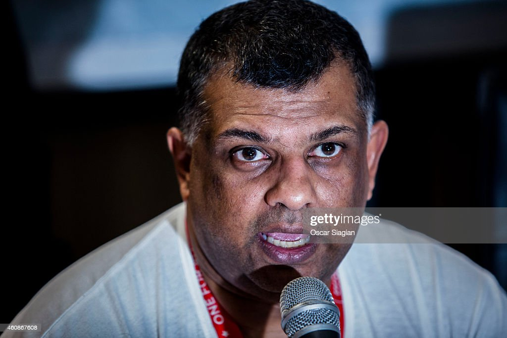 Tony Fernandez CEO of AirAsia talks during a press conferrence at Djuanda International airport on December 28, 2014 in Surabaya, Indonesia. AirAsia announced that flight QZ8501 from Surabaya to Singapore, with 162 people on board, lost contact with air traffic control at 07:24 a.m. Sunday local time.