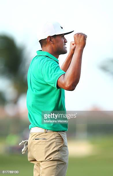 Tony Finau celebrates after putting in to win on the third playoff hole during the final round of the Puerto Rico Open at Coco Beach on March 27 2016...