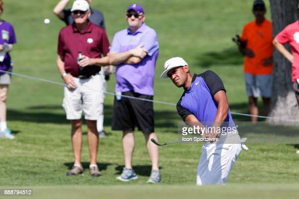 Tony Finau chips onto the 11th green during the second round of the Dean Deluca Invitational on May 26 2017 at Colonial Country Club in Fort Worth TX