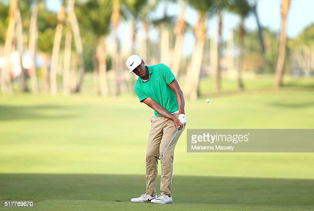Tony Finau chips onto the green on the third playoff hole during the final round of the Puerto Rico Open at Coco Beach on March 27 2016 in Rio Grande...