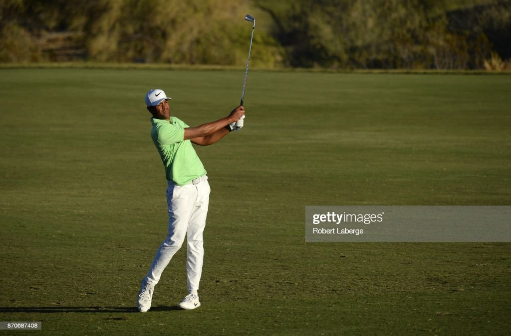Tony Finau hits an approach shot on the 18th hole during the final round of the Shriners Hospitals For Children Open at the TPC Summerlin on November 5, 2017 in Las Vegas, Nevada.
