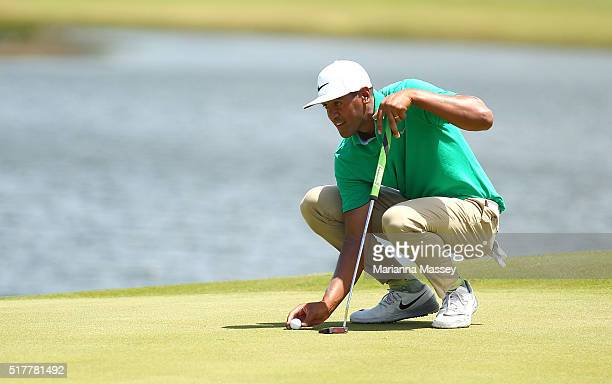 Tony Finau lines up a putt on the second hole during the final round of the Puerto Rico Open at Coco Beach on March 27 2016 in Rio Grande Puerto Rico