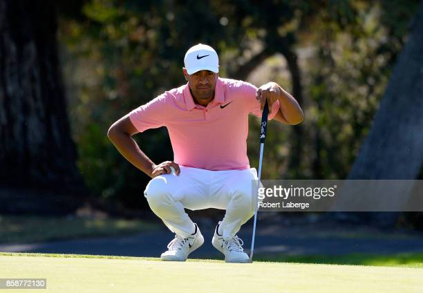Tony Finau lines up a putt on the third hole during the third round of the Safeway Open at the North Course of the Silverado Resort and Spa on...