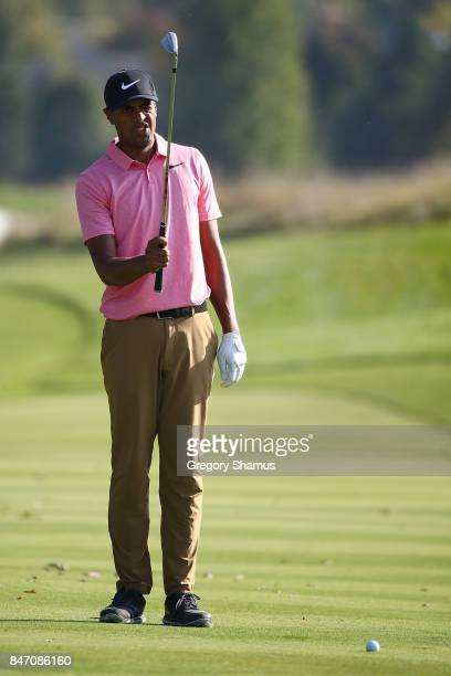 Tony Finau lines up his third shot on the 18th hole during the first round of the BMW Championship at Conway Farms Golf Club on September 14 2017 in...