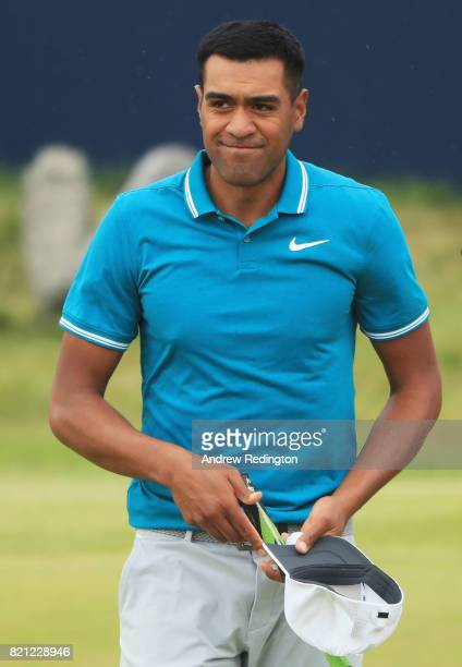 Tony Finau of the United States acknowledges the crowd on the 18th hole during the final round of the 146th Open Championship at Royal Birkdale on...