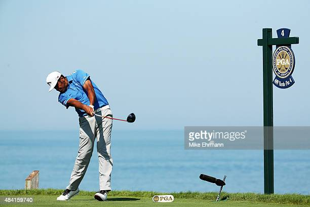 Tony Finau of the United States his tee shot on the fourth hole during the third round of the 2015 PGA Championship at Whistling Straits on August 15...