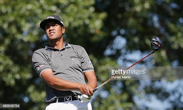 Tony Finau of the United States hits his tee shot on the 12th hole during the second round of The Barclays at Plainfield Country Club on August 28...
