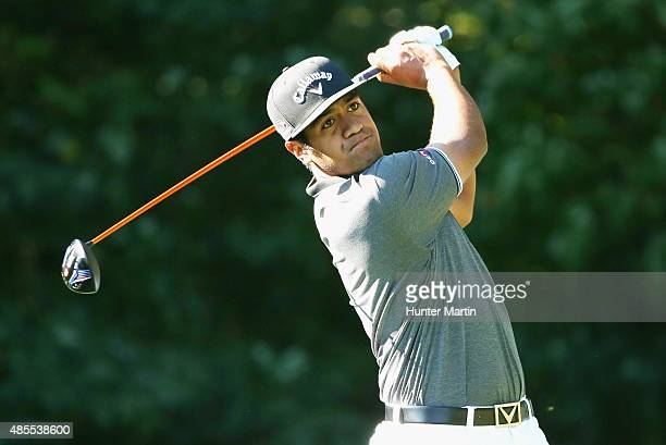 Tony Finau of the United States hits his tee shot on the fifth hole during the second round of The Barclays at Plainfield Country Club on August 28...