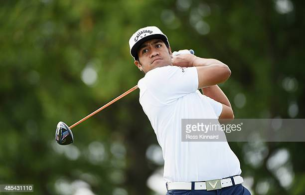 Tony Finau of the United States hits his tee shot on the seventh hole during the first round of The Barclays at Plainfield Country Club on August 27...