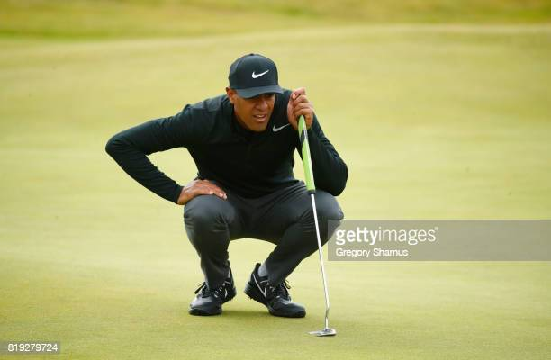 Tony Finau of the United States lines up a putt on the 4th green during the first round of the 146th Open Championship at Royal Birkdale on July 20...