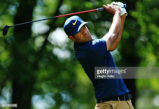 Tony Finau of the United States plays his shot from the 11th tee during the third round of the RBC Canadian Open at Glen Abbey Golf Club on July 29...
