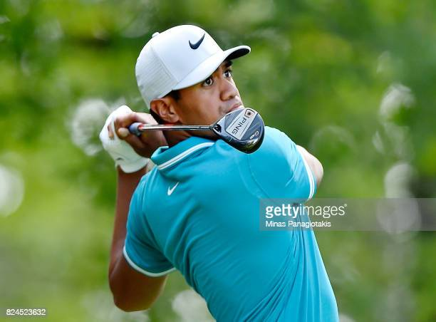 Tony Finau of the United States plays his shot from the 11th tee during the final round of the RBC Canadian Open at Glen Abbey Golf Club on July 30...