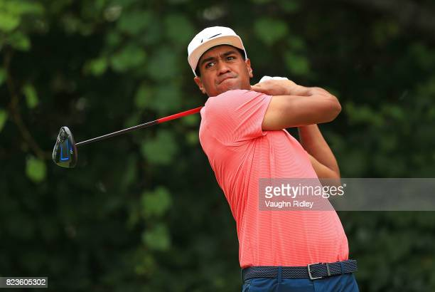 Tony Finau of the United States plays his shot from the 16th tee during round one of the RBC Canadian Open at Glen Abbey Golf Club on July 27 2017 in...