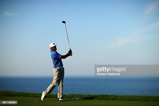 Tony Finau of the United States plays his shot from the 16th tee during the third round of the 2015 PGA Championship at Whistling Straits on August...