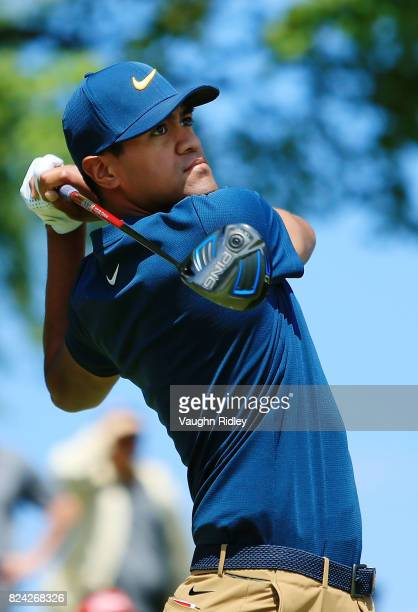 Tony Finau of the United States plays his shot from the first tee during the third round of the RBC Canadian Open at Glen Abbey Golf Club on July 29...