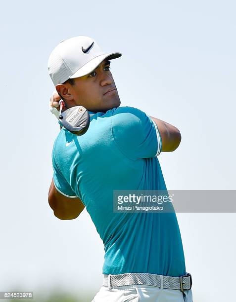 Tony Finau of the United States plays his shot from the third tee during the final round of the RBC Canadian Open at Glen Abbey Golf Club on July 30...