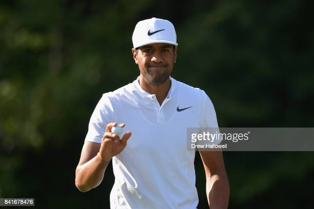 Tony Finau of the United States reacts after putting on the fifth green during round one of the Dell Technologies Championship at TPC Boston on...