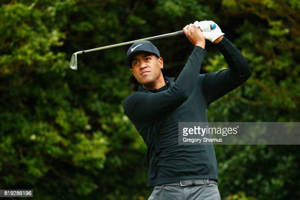 Tony Finau of the United States tees off on the 5th hole during the first round of the 146th Open Championship at Royal Birkdale on July 20 2017 in...