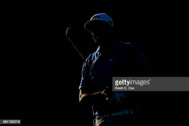Tony Finau of the United States watches a shot on the 15th hole during the third round of the 2015 PGA Championship at Whistling Straits on August 15...