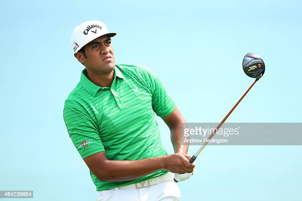 Tony Finau of the United States watches his tee shot on the fifth hole during the final round of the 2015 PGA Championship at Whistling Straits on...