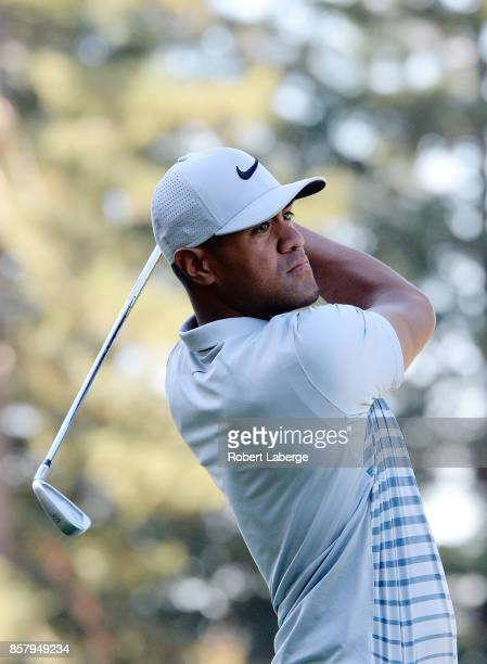 Tony Finau plays his shot from the 12th tee during the first round of the Safeway Open at the North Course of the Silverado Resort and Spa on October...