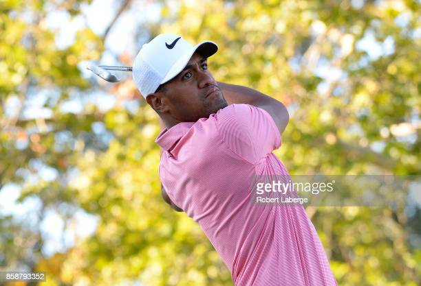 Tony Finau plays his shot from the 17th tee during the third round of the Safeway Open at the North Course of the Silverado Resort and Spa on October...