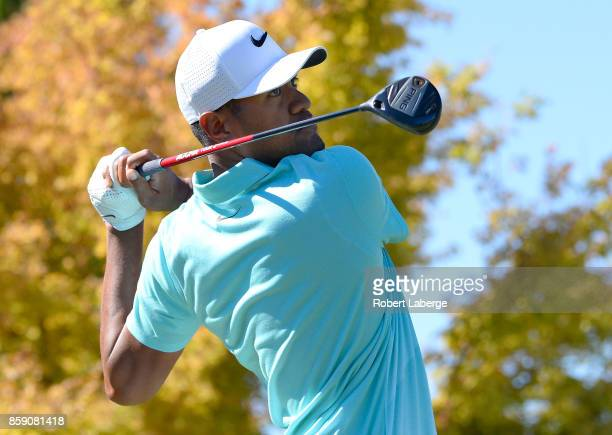 Tony Finau plays his shot from the first tee during the final round of the Safeway Open at the North Course of the Silverado Resort and Spa on...