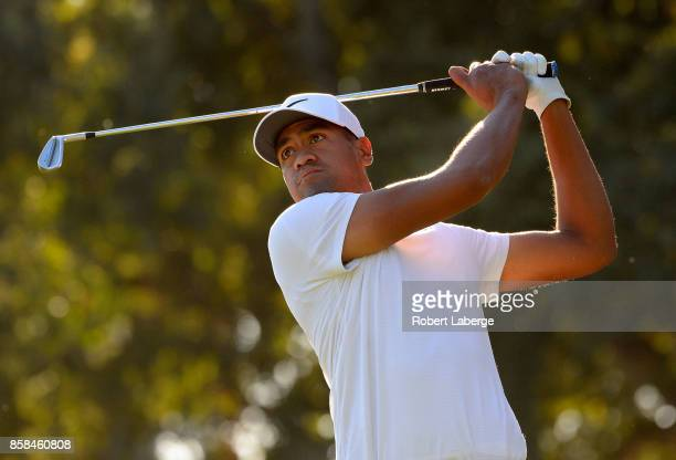 Tony Finau plays his shot from the seventh tee during the second round of the Safeway Open at the North Course of the Silverado Resort and Spa on...