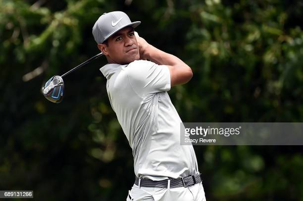 Tony Finau plays his shot from the sixth tee during Round Three of the DEAN DELUCA Invitational at Colonial Country Club on May 27 2017 in Fort Worth...