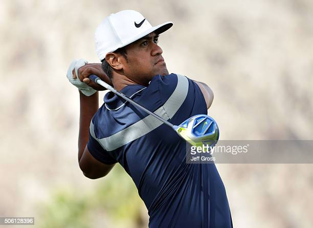 Tony Finau plays his tee shot on the 11th hole during the first round of the CareerBuilder Challenge In Partnership With The Clinton Foundation at La...