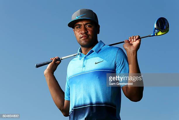 Tony Finau poses during the Sony Open In Hawaii ProAm tournament at Waialae Country Club on January 13 2016 in Honolulu Hawaii