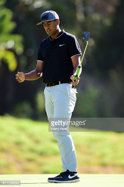 Tony Finau reacts to a missed putt on the eighth hole during round one of the Northern Trust Open at Riviera Country Club on February 18 2016 in...