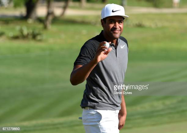 Tony Finau reacts to his birdie putt on the 16th hole during the second round of the Valero Texas Open at TPC San Antonio ATT Oaks Course on April 21...