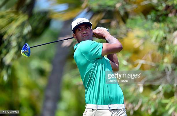 Tony Finau tees off on the fourth hole during the final round of the Puerto Rico Open at Coco Beach on March 27 2016 in Rio Grande Puerto Rico