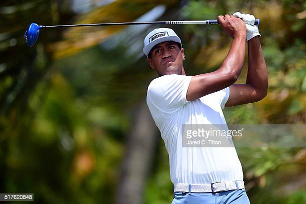 Tony Finau tees off on the fourth hole during the third round of the Puerto Rico Open at Coco Beach on March 26 2016 in Rio Grande Puerto Rico