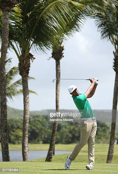 Tony Finau tees off on the third hole during the final round of the Puerto Rico Open at Coco Beach on March 27 2016 in Rio Grande Puerto Rico
