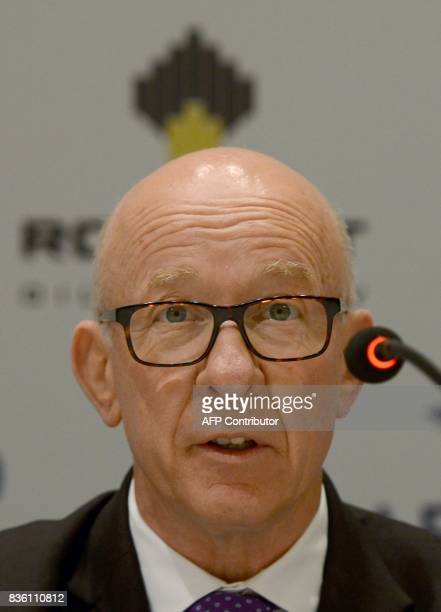 Tony Fountain the new chairman of Essar Oil takes part in a news conference in Mumbai on August 21 2017 Russia's statecontrolled oil giant Rosneft...