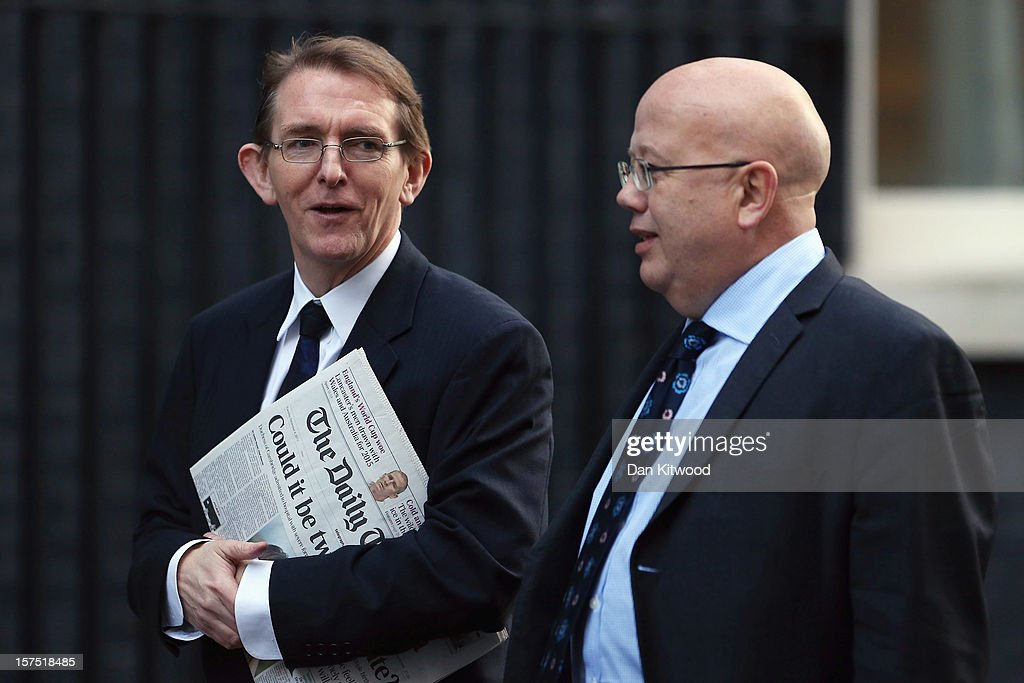 Tony Gallagher, (L) the editor of The Telegraph and Chris Blackhurst, the editor of The Independent arrive on Downing Street on December 4, 2012 in London, England. Most editors of the national daily newspapers are meeting the Prime Minister David Cameron and culture secretary Maria Miller in Downing Street to discuss ideas for a new system of press regulation.