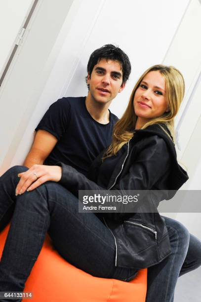 Tony Gallopin and his wife Marion Rousse during a training session Kettler Home Fitness at Stade Jean Bouin on February 23 2017 in Paris France
