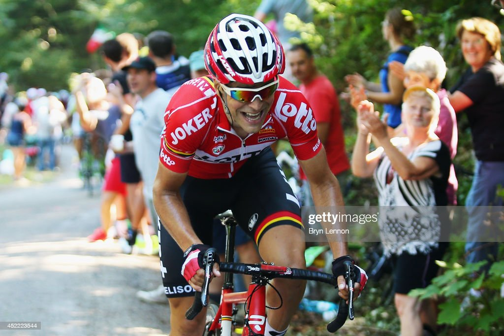 <a gi-track='captionPersonalityLinkClicked' href=/galleries/search?phrase=Tony+Gallopin&family=editorial&specificpeople=6712360 ng-click='$event.stopPropagation()'>Tony Gallopin</a> of France and Lotto Belisol in action during the eleventh stage of the 2014 Tour de France, a 188km stage between Besancon and Oyonnax, on July 16, 2014 in Oyonnax, France.