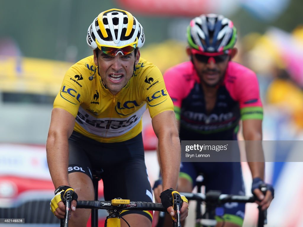 Tony Gallopin of France and Lotto-Belisol conceded the yellow jersey afterstage ten of the 2014 Tour de France, a 162km stage between Mulhouse and La Planche des Belles Filles, on July 14, 2014 in La Planche des Belles, France.