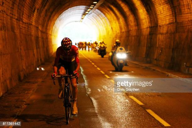 Tony Gallopin of France riding for Lotto Soudal rides througha tunnel during stage 9 of the 2017 Le Tour de France a 1815km stage from Nantua to...